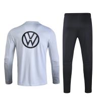2020 Germany Light Gray Zipper Sweat Shirt Kit(Top+Trouser)