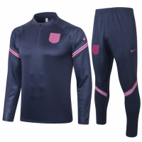 2020 England Navy Zipper Sweat Shirt Kit(Top+Trouser)