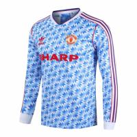 90/92 Manchester United Away Blue Retro Long Sleeve Jerseys Shirt