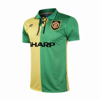 92-94 Manchester United Away Classic Retro Yellow&Green Jersey Shirt