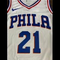 Men's Philadelphia 76ers Joel Embiid No.21 White Swingman Jersey - Association Edition