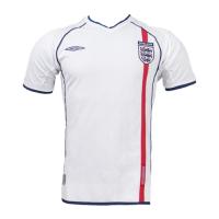 2002 England Home White Retro Jerseys Shirt
