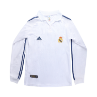 01/02 Real Madrid Home White Long Sleeve Retro Jerseys Shirt