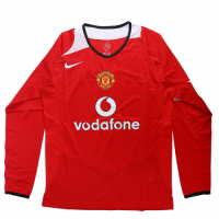 05-06 Manchester United Home Red Long Sleeve Retro Jerseys Shirt