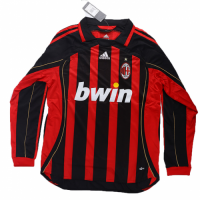 06-07 AC Milan Retro Home Red&Black Long Sleeve Jersey Shirt