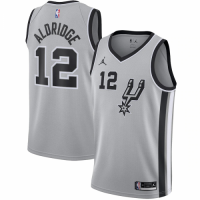 Men's San Antonio Spurs LaMarcus Aldridge No.12 Jordan Brand Silver 202021 Swingman Jersey - Statement Edition