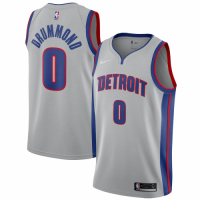 Men's Detroit Pistons Andre Drummond No.0 Nike Silver Swingman Jersey Statement Edition