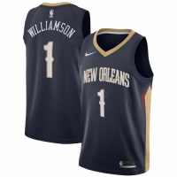 Men's New Orleans Pelicans Zion Williamson No.1 Navy 2019 NBA Draft First Round Pick Swingman Jersey