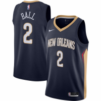 Men's New Orleans Pelicans Lonzo Ball No.2 Nike Navy 202021 Swingman Jersey - Icon Edition