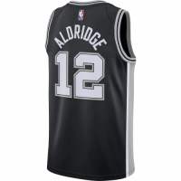 Men's San Antonio Spurs LaMarcus Aldridge No.12 Nike Black 202021 Swingman Jersey - Icon Edition