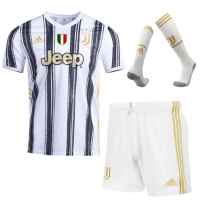 20/21 Juventus Home Black&White Soccer Jerseys Whole Kit(Shirt+Short+Socks)