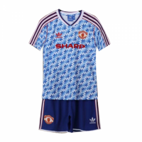 90/92 Manchester United Away Blue Retro Children's Jerseys Kit(Shirt+Short)