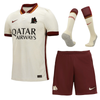 20/21 Roma Away White Soccer Jerseys Whole Kit(Shirt+Short+Socks)