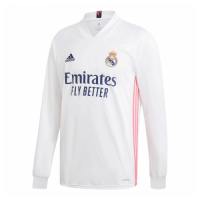 20/21 Real Madrid Home White Long Sleeve Jerseys Shirt
