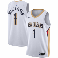 Men's New Orleans Pelicans Zion Williamson No.1 Nike White 20192020 Swingman Jersey - Association Edition