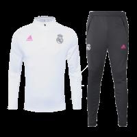 20/21 Real Madrid White Zipper Sweat Shirt Kit(Top+Trouser)