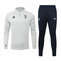 20/21 Juventus Gray&White Zipper Sweat Shirt Kit(Top+Trouser)