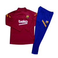 Kids 20/21 Barcelona Red Zipper Sweat Shirt Kit(Top+Trouser)