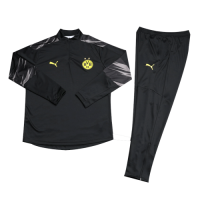 Kids 20/21 Borussia Dortmund Black Zipper Sweat Shirt Kit(Top+Trouser)
