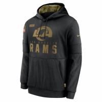 Men's Los Angeles Rams Black 2020 Salute to Service Sideline Performance Pullover Hoodie