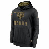 Men's Chicago Bears Black 2020 Salute to Service Sideline Performance Pullover Hoodie