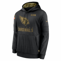Men's Arizona Cardinals Black 2020 Salute to Service Sideline Performance Pullover Hoodie