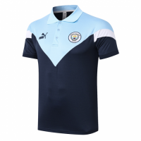 20/21 Manchester City Grand Slam Polo Shirt-Navy&Light Blue