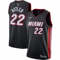 Men's Miami Heat Jimmy Butler No.22 Nike Black 202021 Swingman Jersey - Icon Edition