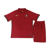 2020 Portugal Home Red Children's Jerseys Kit(Shirt+Short)