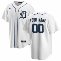 Men's Detroit Tigers Nike White Home 2020 Replica Custom Jersey