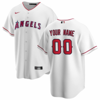 Men's Los Angeles Angels Nike White Home 2020 Replica Custom Jersey