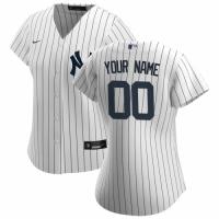 Women's New York Yankees Nike White Navy 2020 Home Replica Custom Jersey