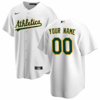 Men's Oakland Athletics Nike White Home 2020 Replica Custom Jersey