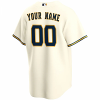 Men's Milwaukee Brewers Nike Cream Home 2020 Replica Custom Jersey