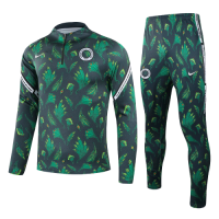 2021 Nigeria Dark Green Zipper Sweat Shirt Kit(Top+Trouser)