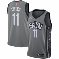Men's Brooklyn Nets Kyrie Irving #11 Jordan Brand Gray 2020/21 Swingman Jersey - Statement Edition