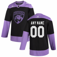 Men's Florida Panthers adidas Black Hockey Fights Cancer Custom Practice Jersey