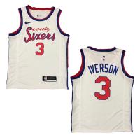 Men's Philadelphia 76ers Allen Iverson #3 Nike White Hardwood Classics Finished Swingman Jersey