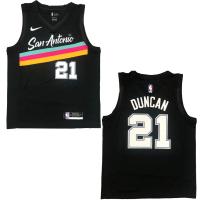 Men's San Antonio Spurs Tim Duncan #21 Nike Black 20/21 Swingman Jersey-City Edition