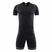 Style Customize Team All Black Soccer Jerseys Kit(Shirt+Short)