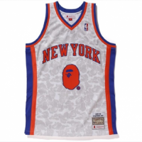BAPE x Mitchell & Ness Knicks ABC White Basketball Swingman Jersey