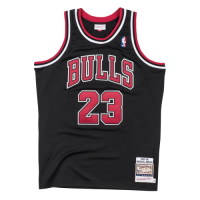 Men's Chicago Bulls Michael Jordan #23 Mitchell & Ness Black 1997-98 Hardwood Classics Player Jersey
