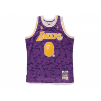 BAPE x Mitchell & Ness Lakers ABC Purple Basketball Swingman Jersey