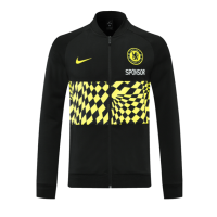 21/22 Chelsea Black&Yellowe High Neck Collar Training Jacket