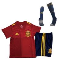 Spain Kids Soccer Jersey Home Whole Kit (Shirt+Short+Socks) 2020