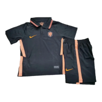 Kids Netherlands 2021 Away Soccer Jersey Kit(Shirt+Short) Black