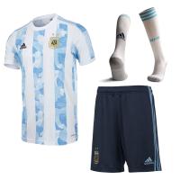 Argentina Soccer Jersey Home Whole Kit (Shirt+Short+Socks) Replica 2021
