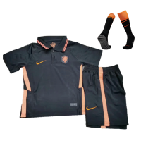 Kids Netherlands 2021 Away Soccer Jersey Whole Kit(Shirt+Short+Socks) Black