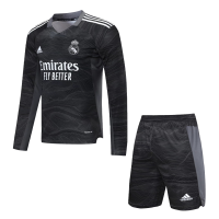 Real Madrid Soccer Jersey Goalkeeper Long Sleeve Black Kit (Jersey+Short) Replica 2021/22