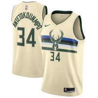 Men's Milwaukee Bucks Giannis Antetokounmpo #34 Nike Cream Swingman Jersey - City Edition